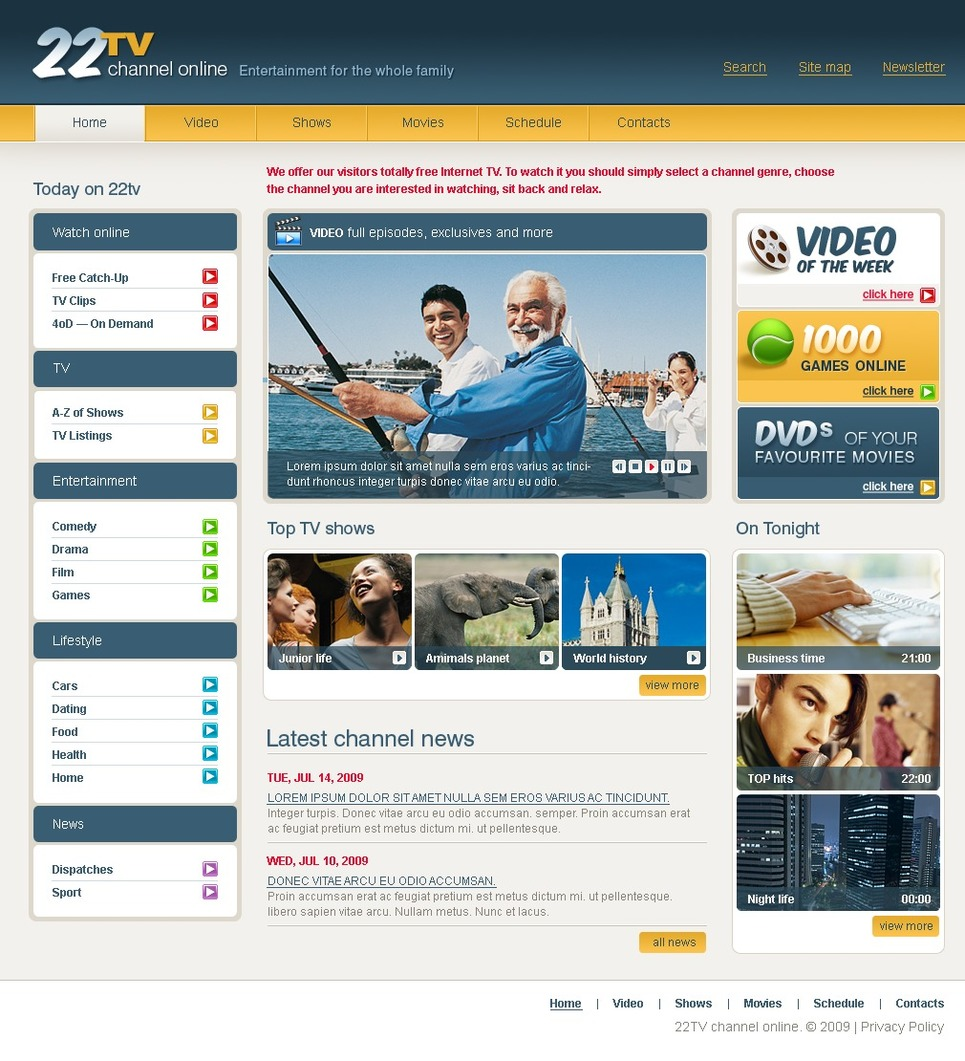Tv channel website template 24936 Home tv channel