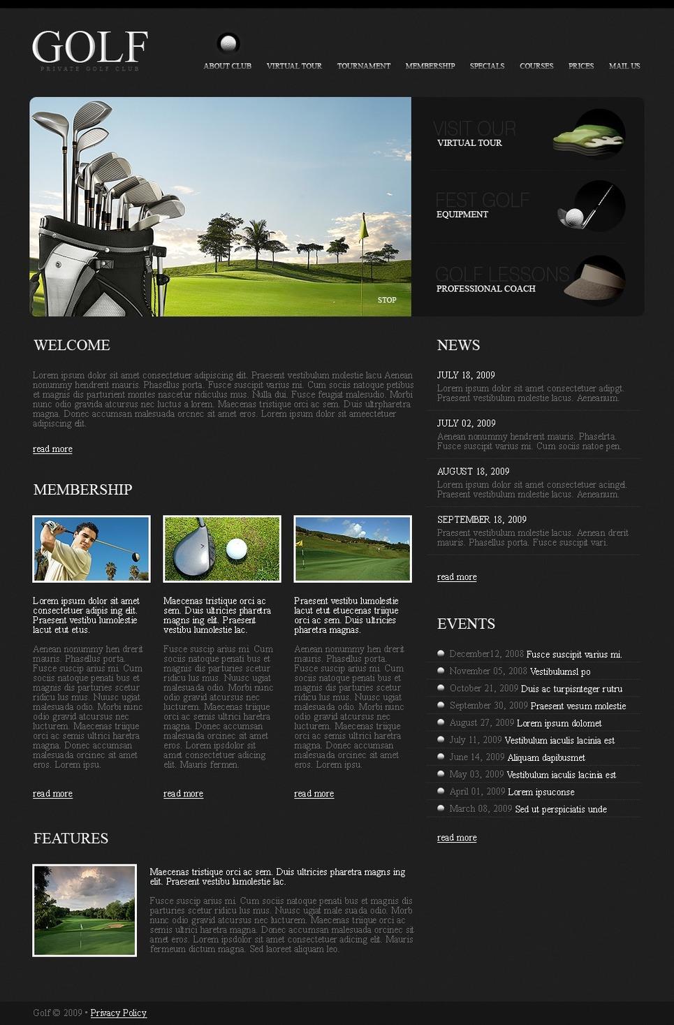 golf website template 24937. Black Bedroom Furniture Sets. Home Design Ideas