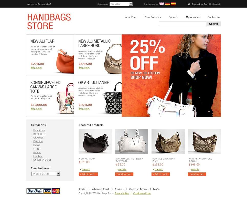 Handbag OsCommerce Template New Screenshots BIG
