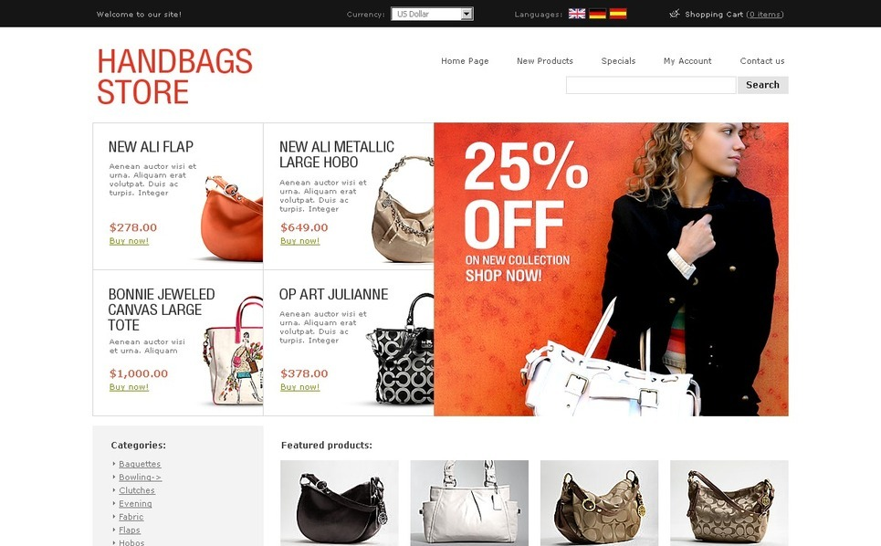 Handbag OsCommerce Template New Screenshots BIG