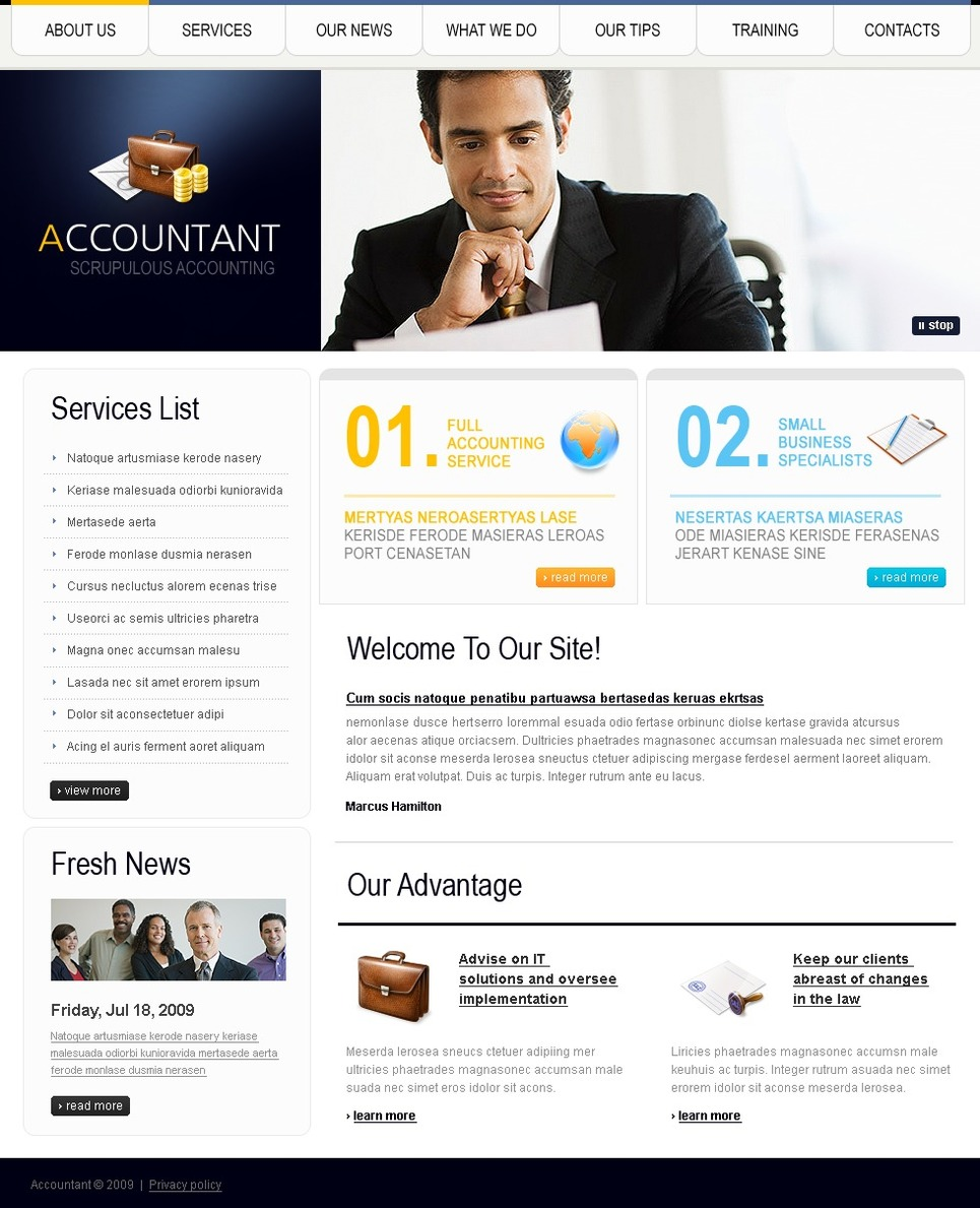 Accounting Website Website Template - Web Design Templates ...