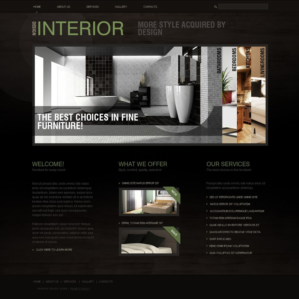 Interior design website template 25162 for Interior design sites