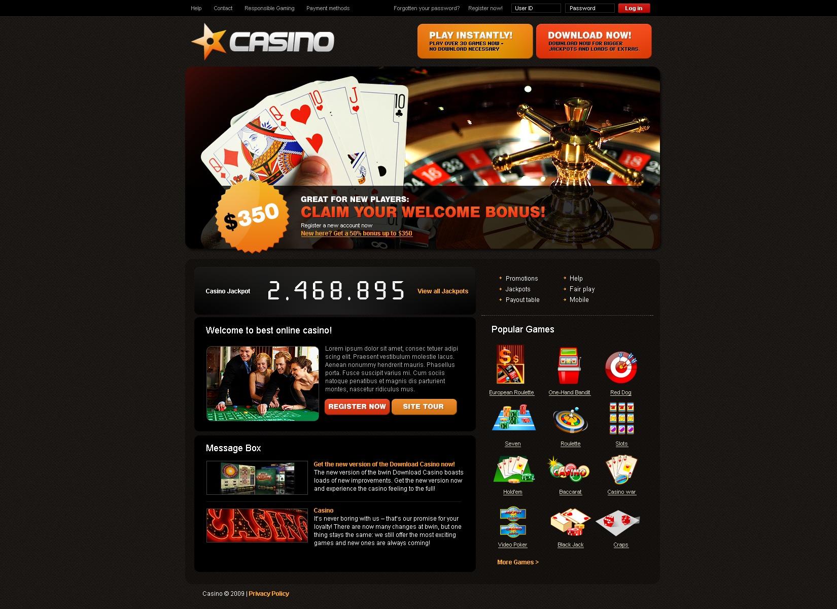 free bonus register casino