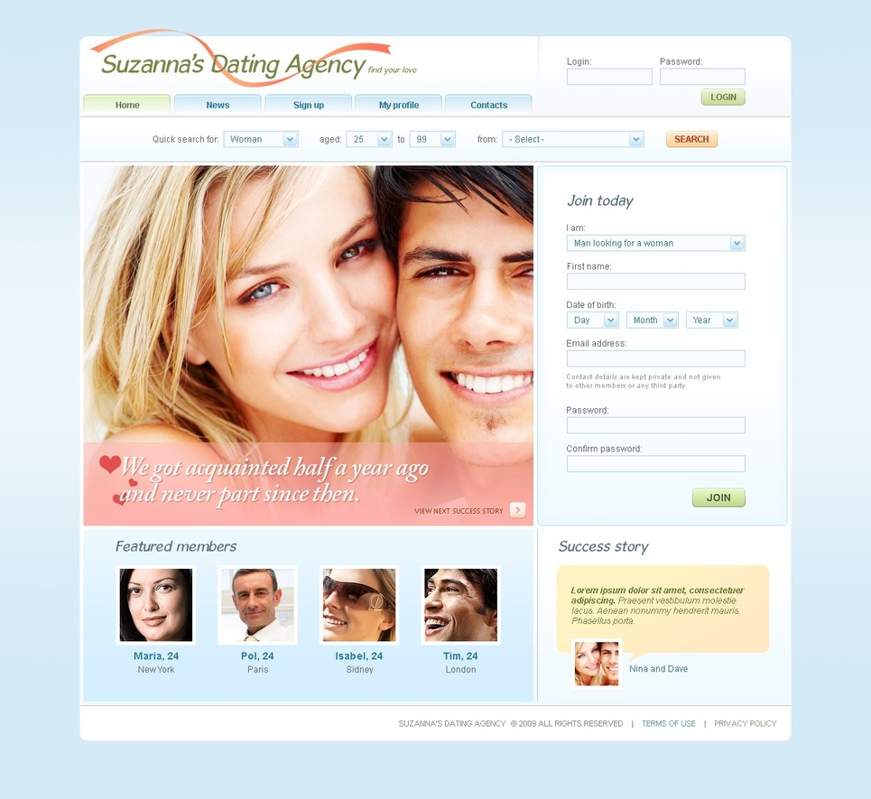 dating web templates Dating site designer offers professional dating website design and development services professional backend programming utilizing out of the box programming or from scratch site developments.