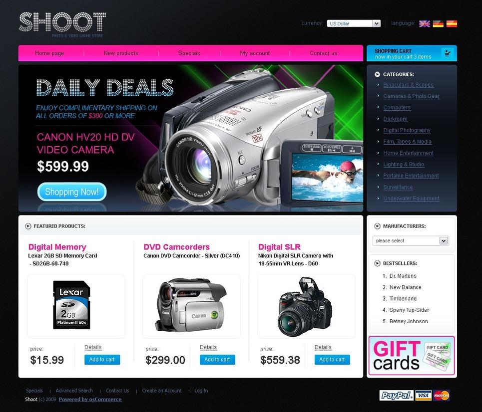 Video Store OsCommerce Template New Screenshots BIG