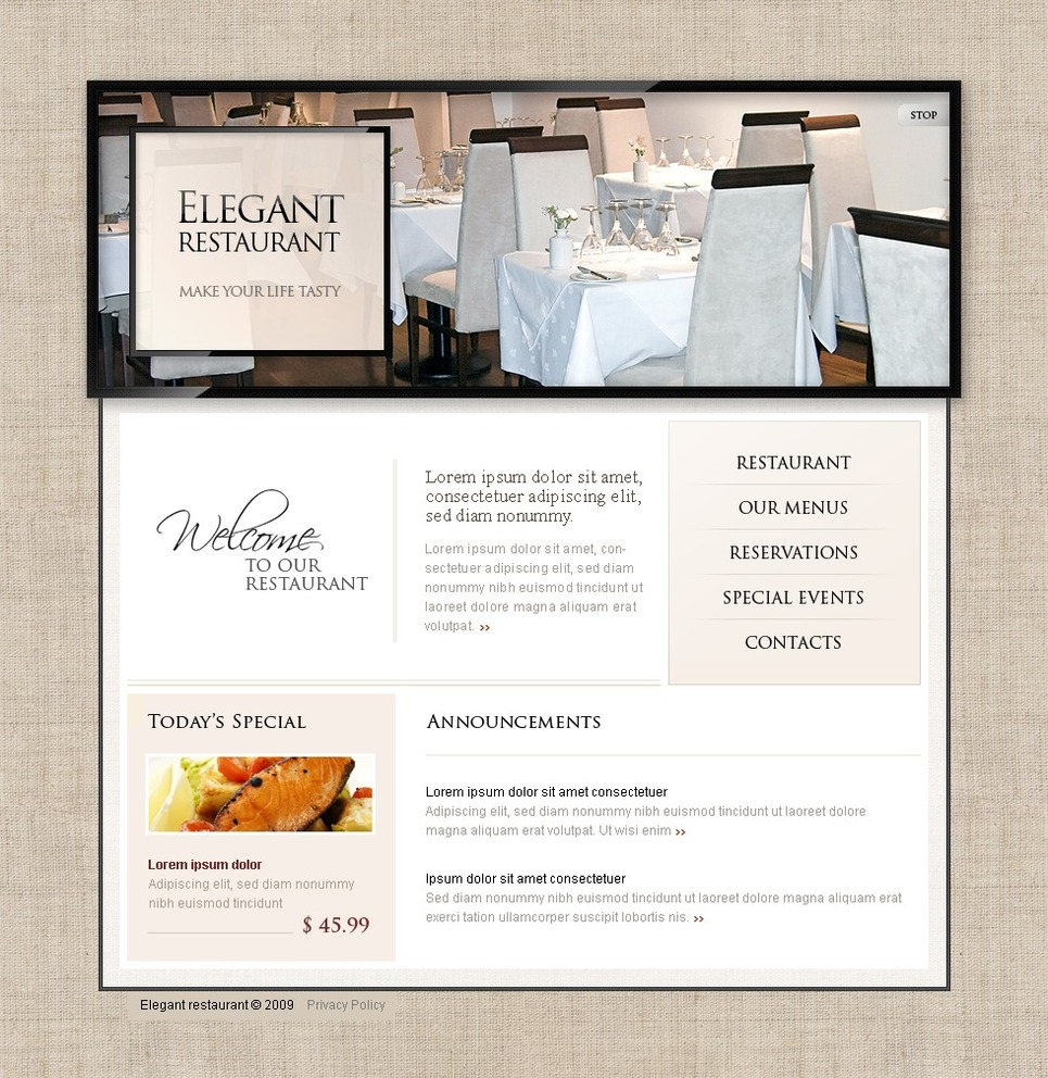 Cafe and Restaurant Turnkey Website 1.0 New Screenshots BIG