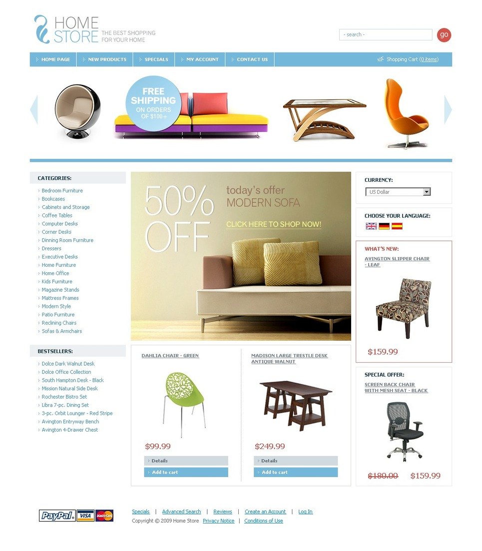 Interior & Furniture OsCommerce Template New Screenshots BIG