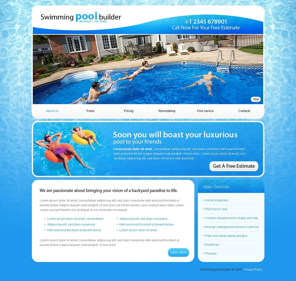 Pool cleaning website template web design templates for Pool design website
