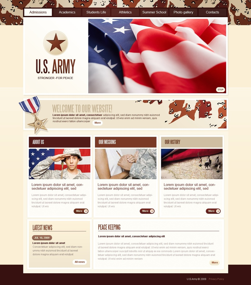 Army Website Template New Screenshots BIG