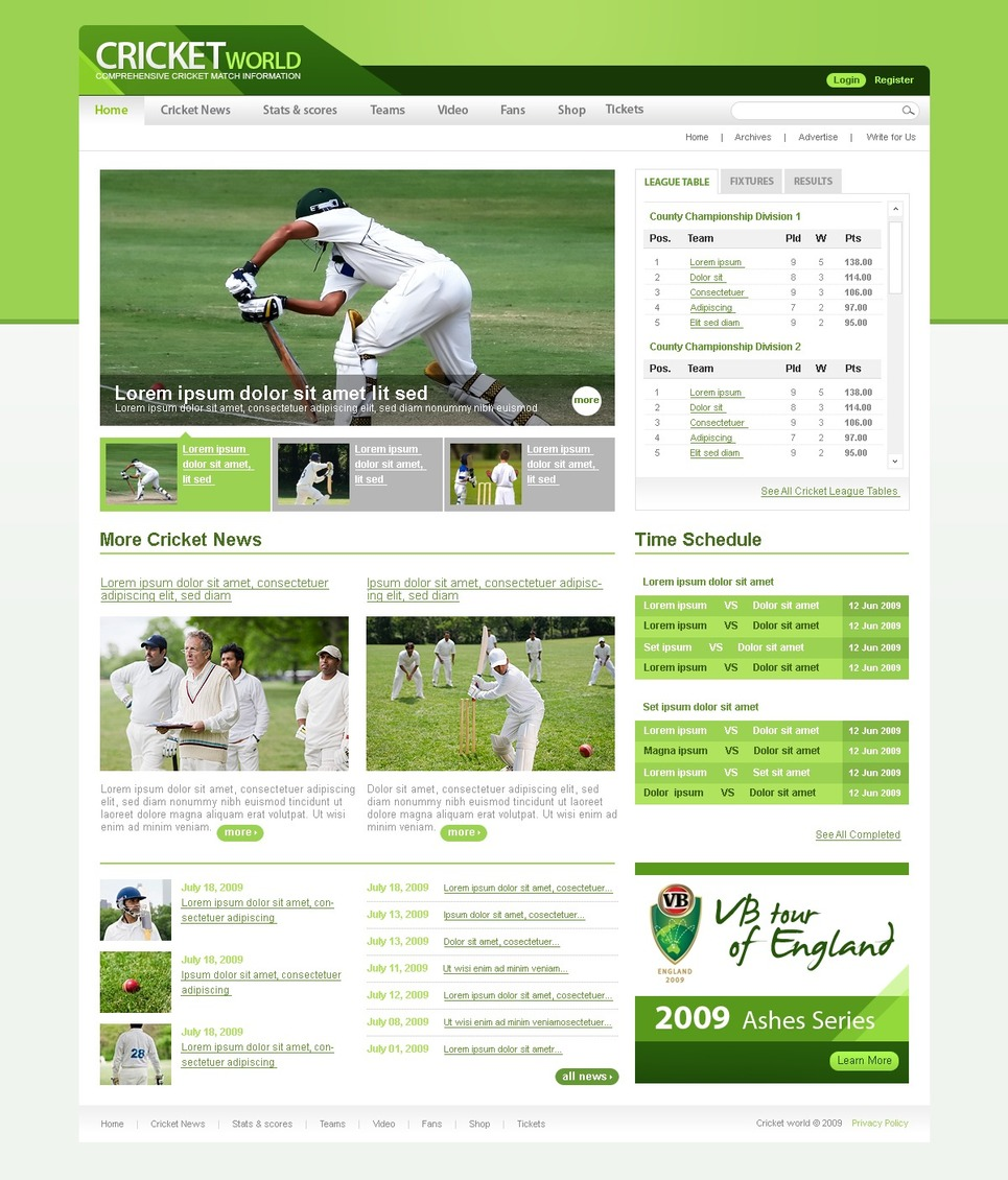 Cricket Website Template New Screenshots BIG