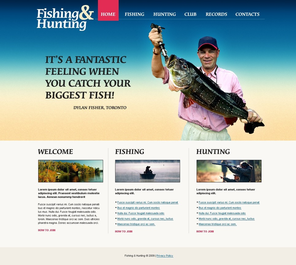Fishing Website Template 26129