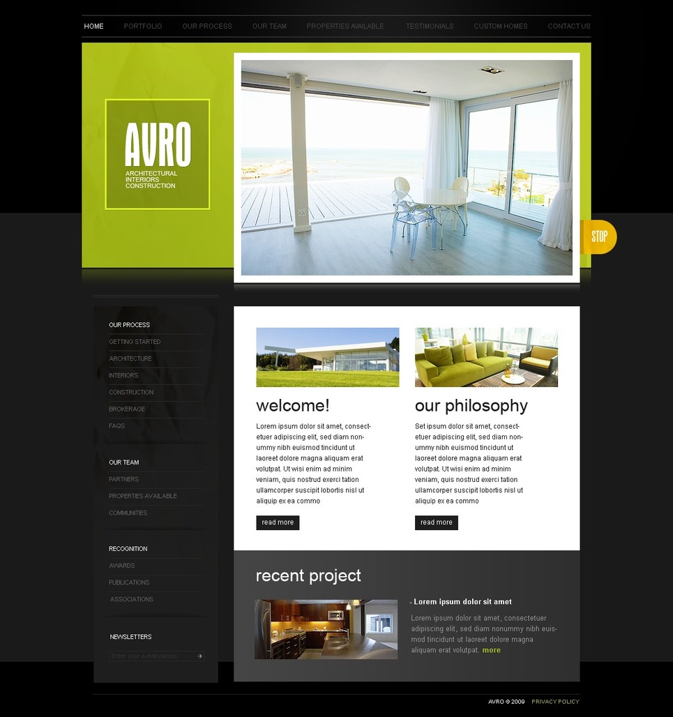 Interior design website template 26166 for Interior design websites