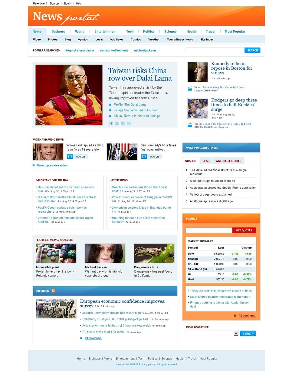 news portal website template 26311. Black Bedroom Furniture Sets. Home Design Ideas