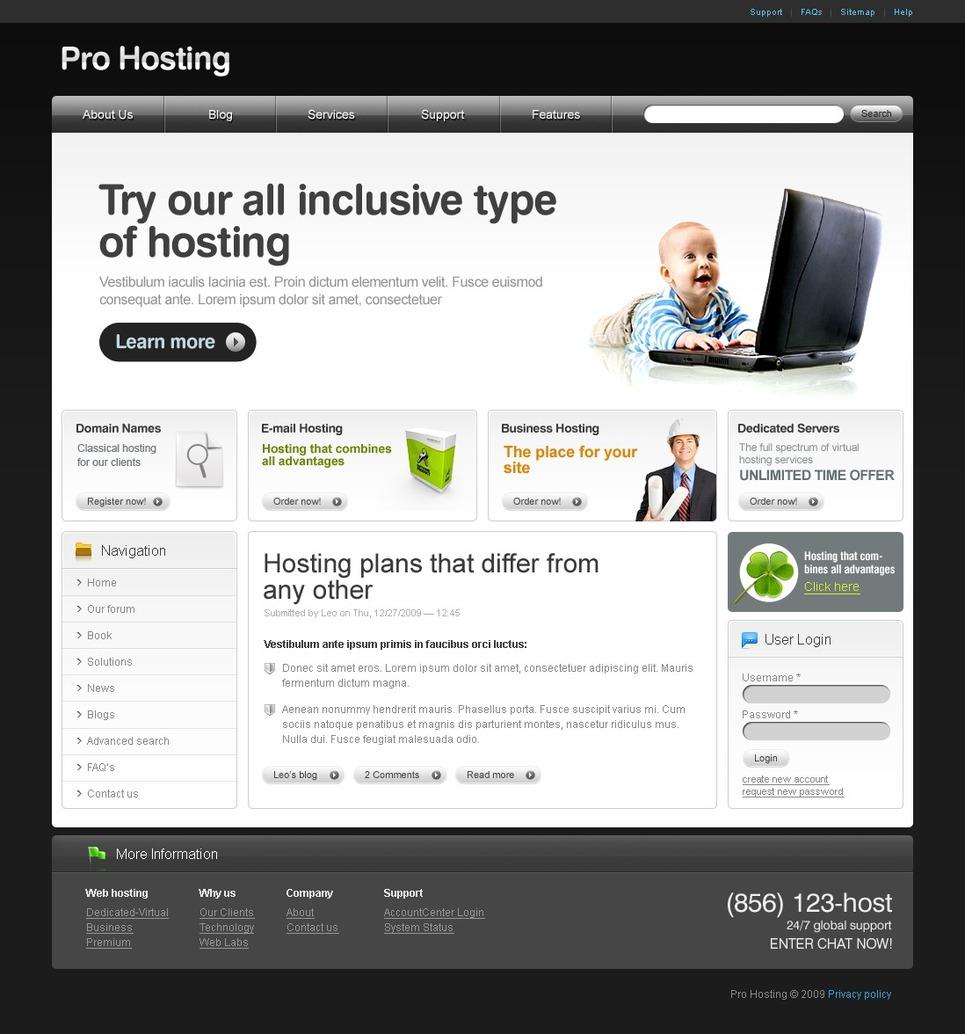 Hosting Drupal Template New Screenshots BIG