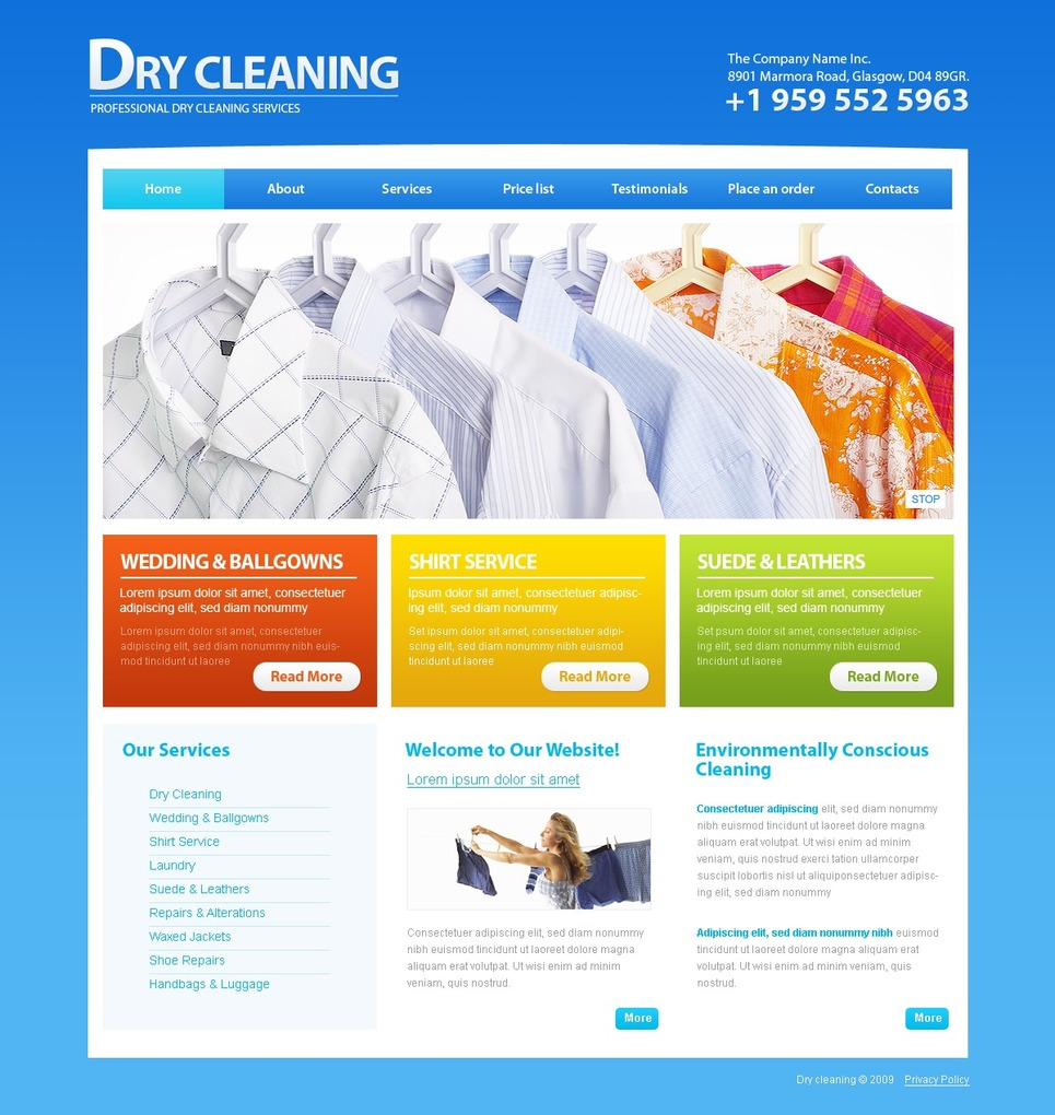 Dry Cleaners Website Template Web Design Templates