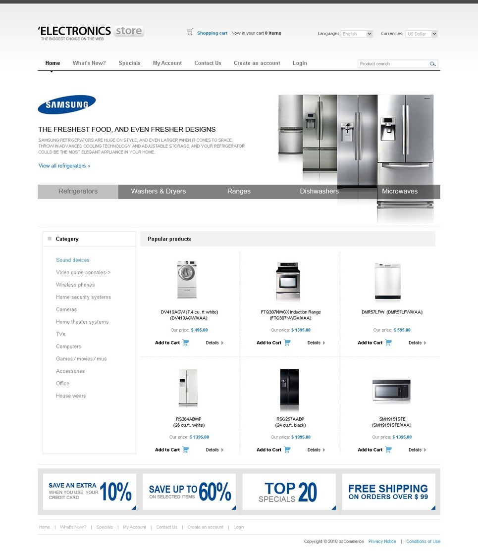 Go White with OSCommerce Template