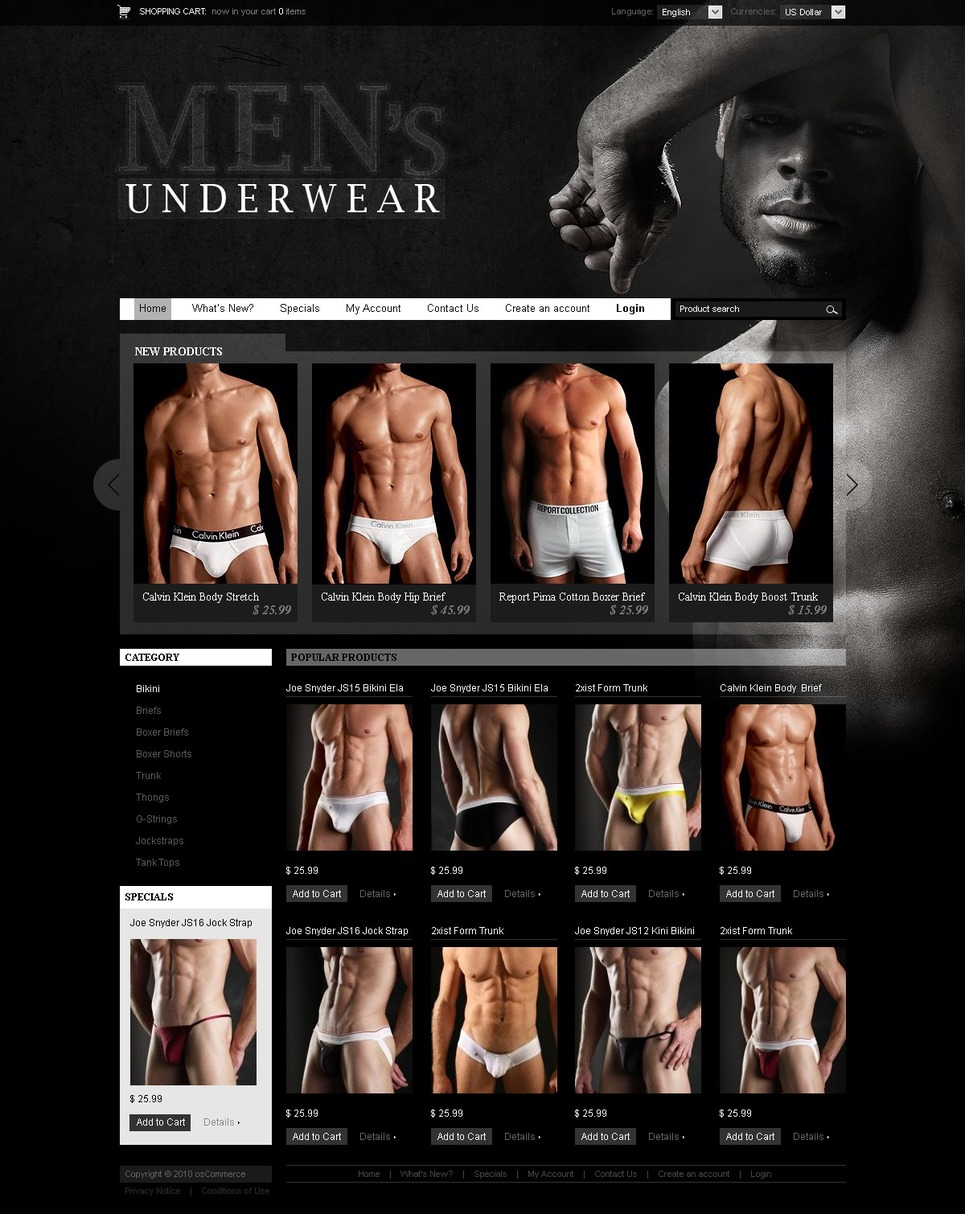 Perfect Men's Underwear OS-Commerce Template
