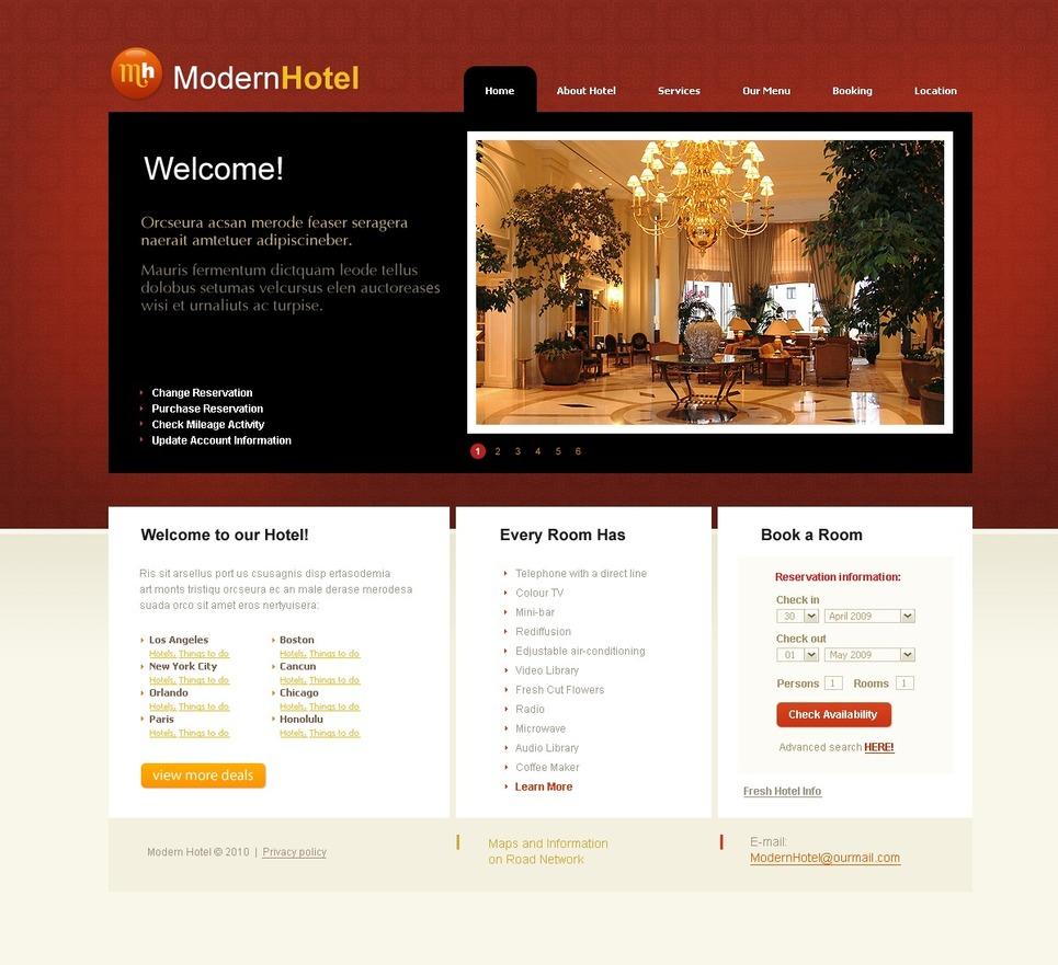 Mod le web 26691 pour site d 39 h tel for Site web pour hotel