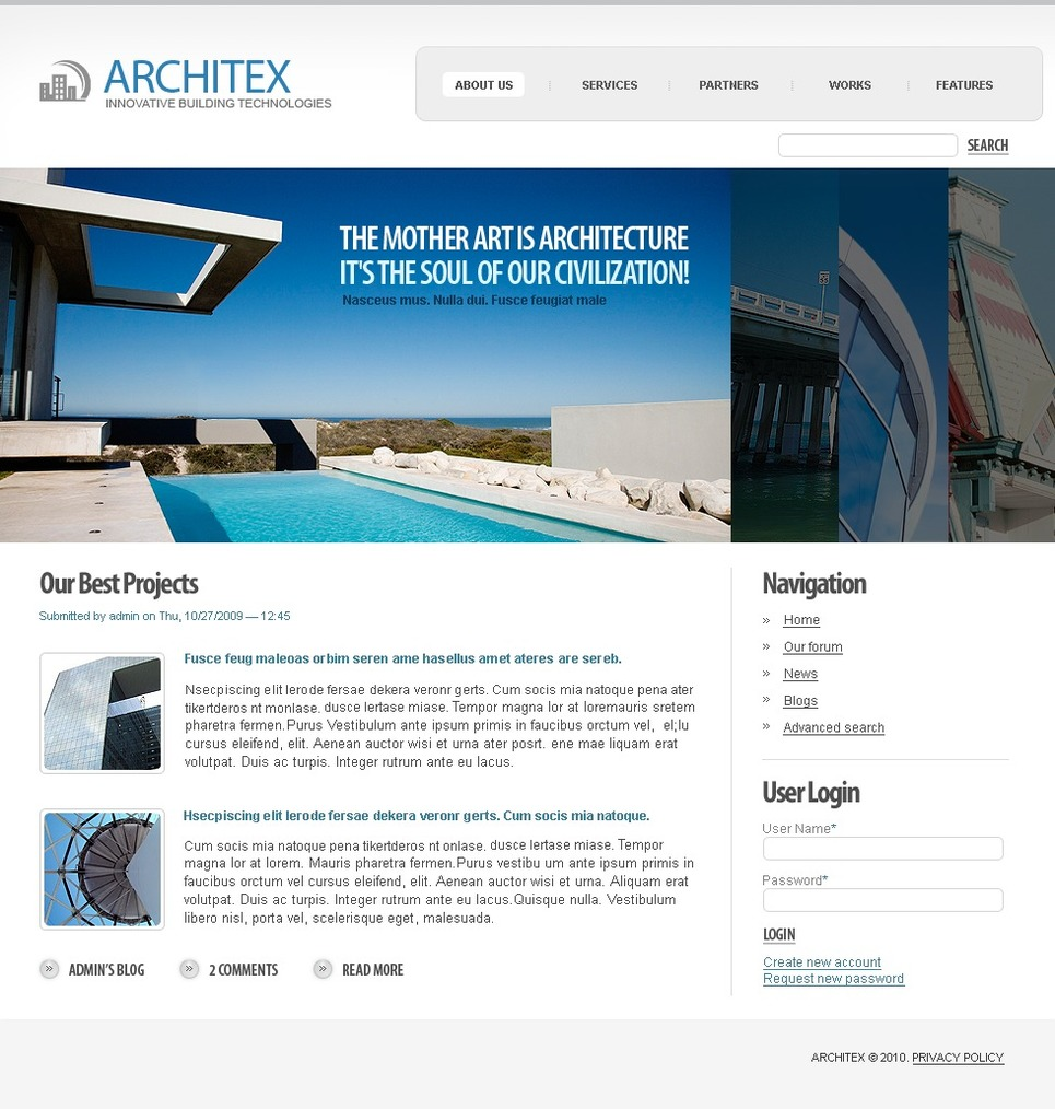 Architecture Drupal Template New Screenshots BIG