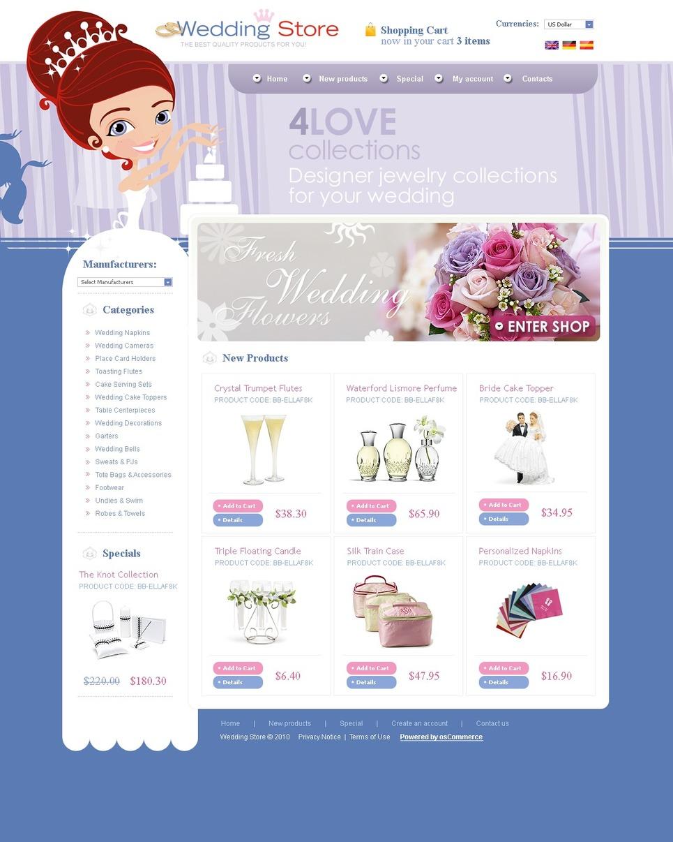 Wedding Shop OsCommerce Template New Screenshots BIG