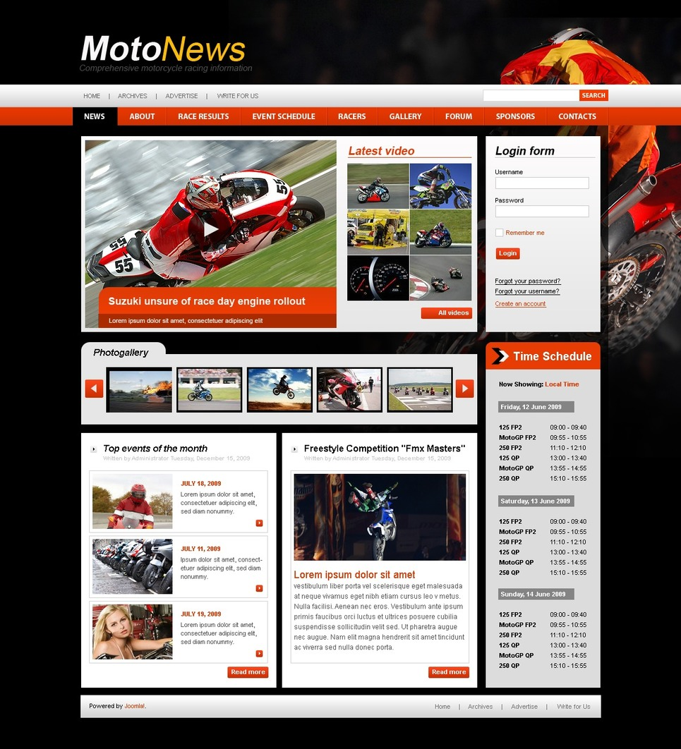 Motor Sports Joomla Template New Screenshots BIG