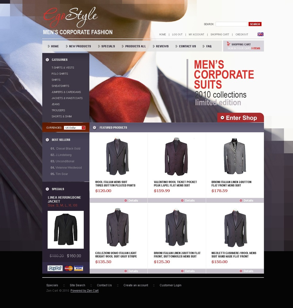 Apparel ZenCart Template New Screenshots BIG