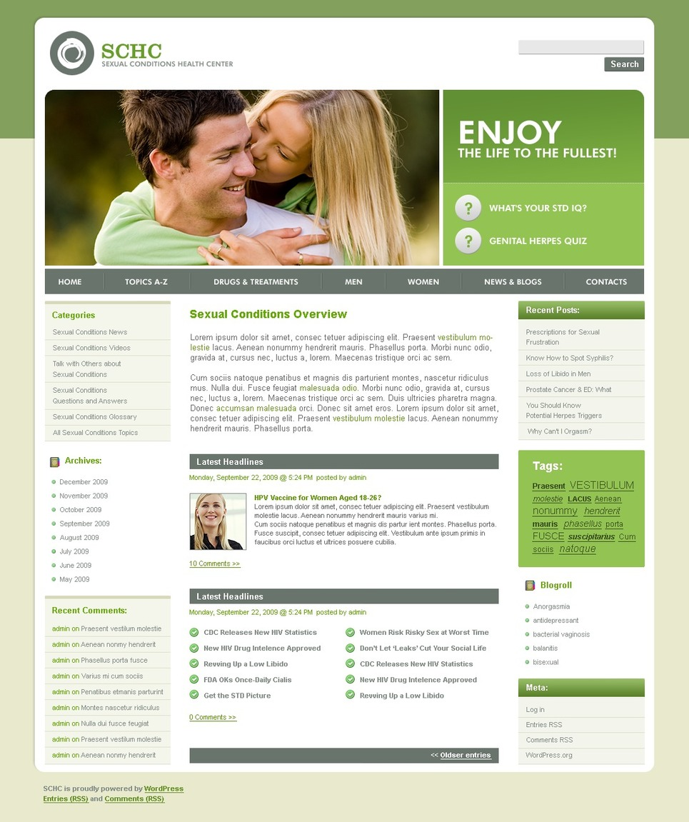Reproduction Clinic WordPress Theme New Screenshots BIG