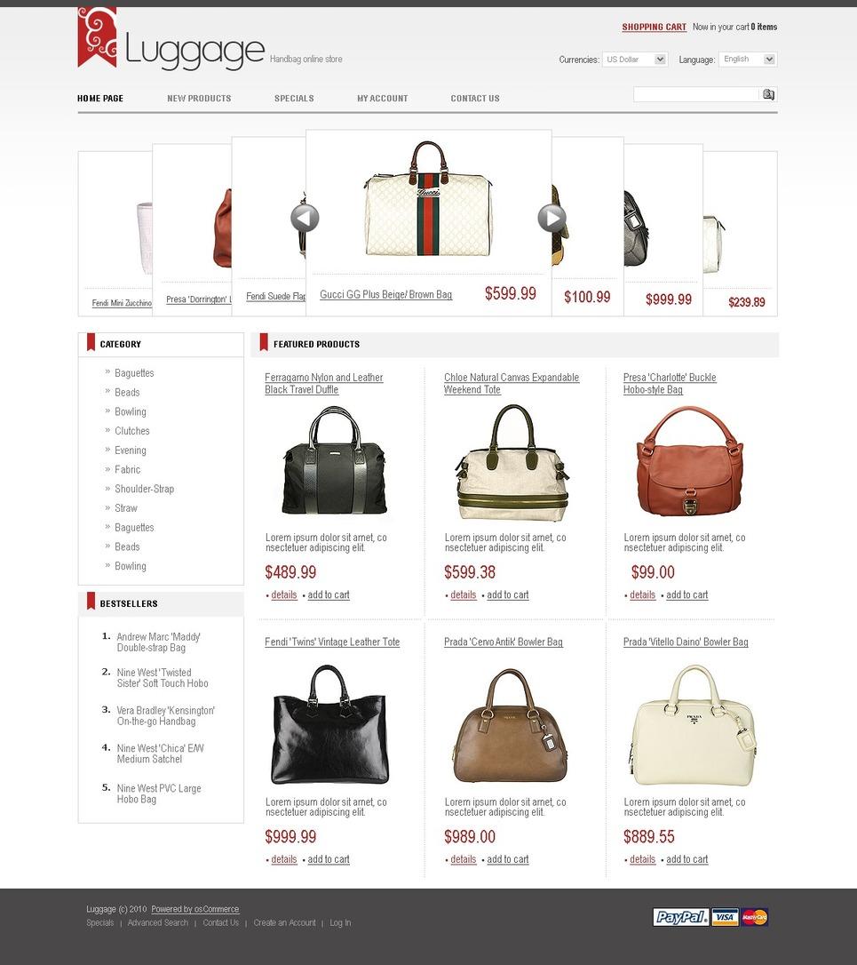 The White Themed Handbag OsCommerce Template