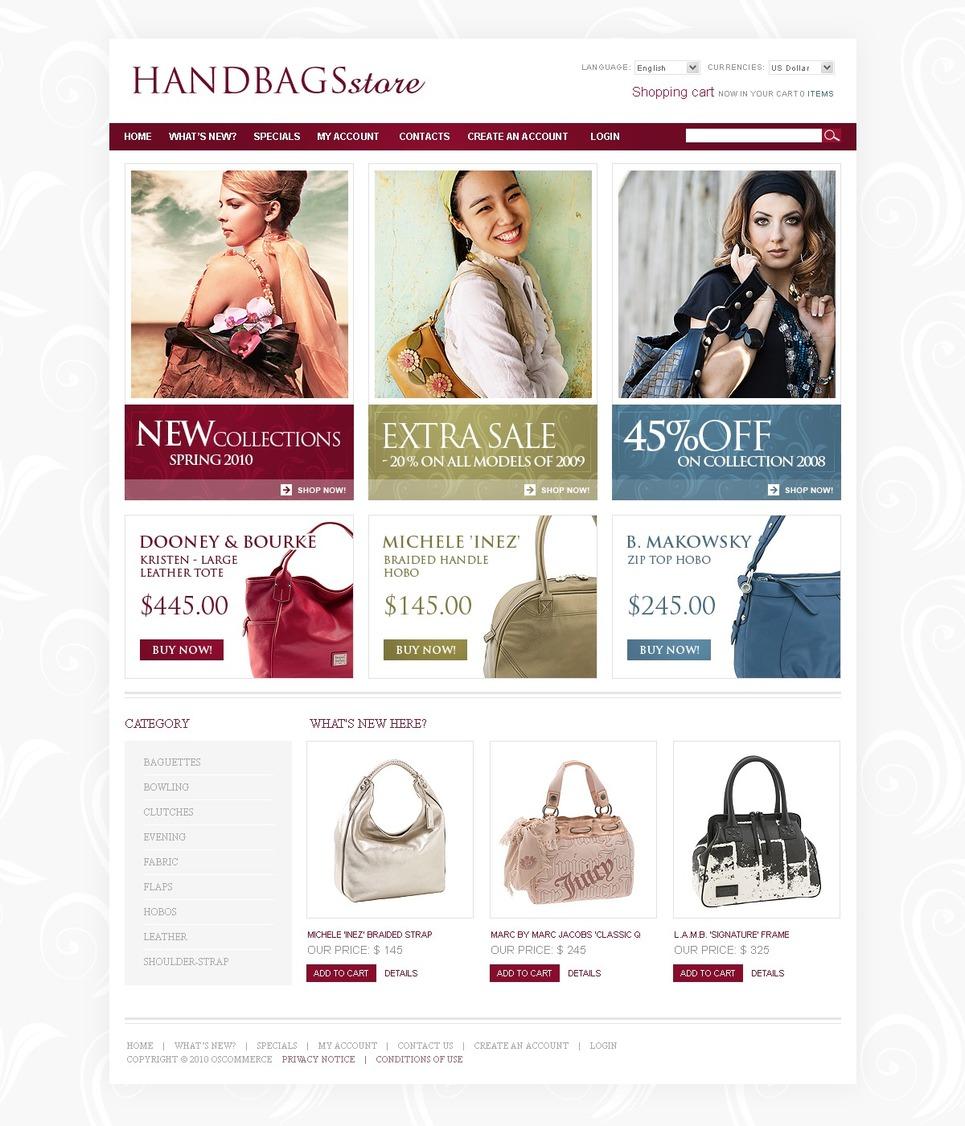 Pastel Color OsCommerce Theme for Fashionable Handbags