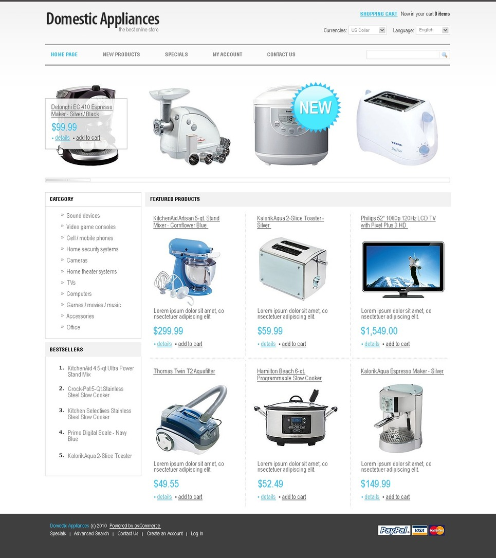 Special OSCommerce Home Appliance Theme