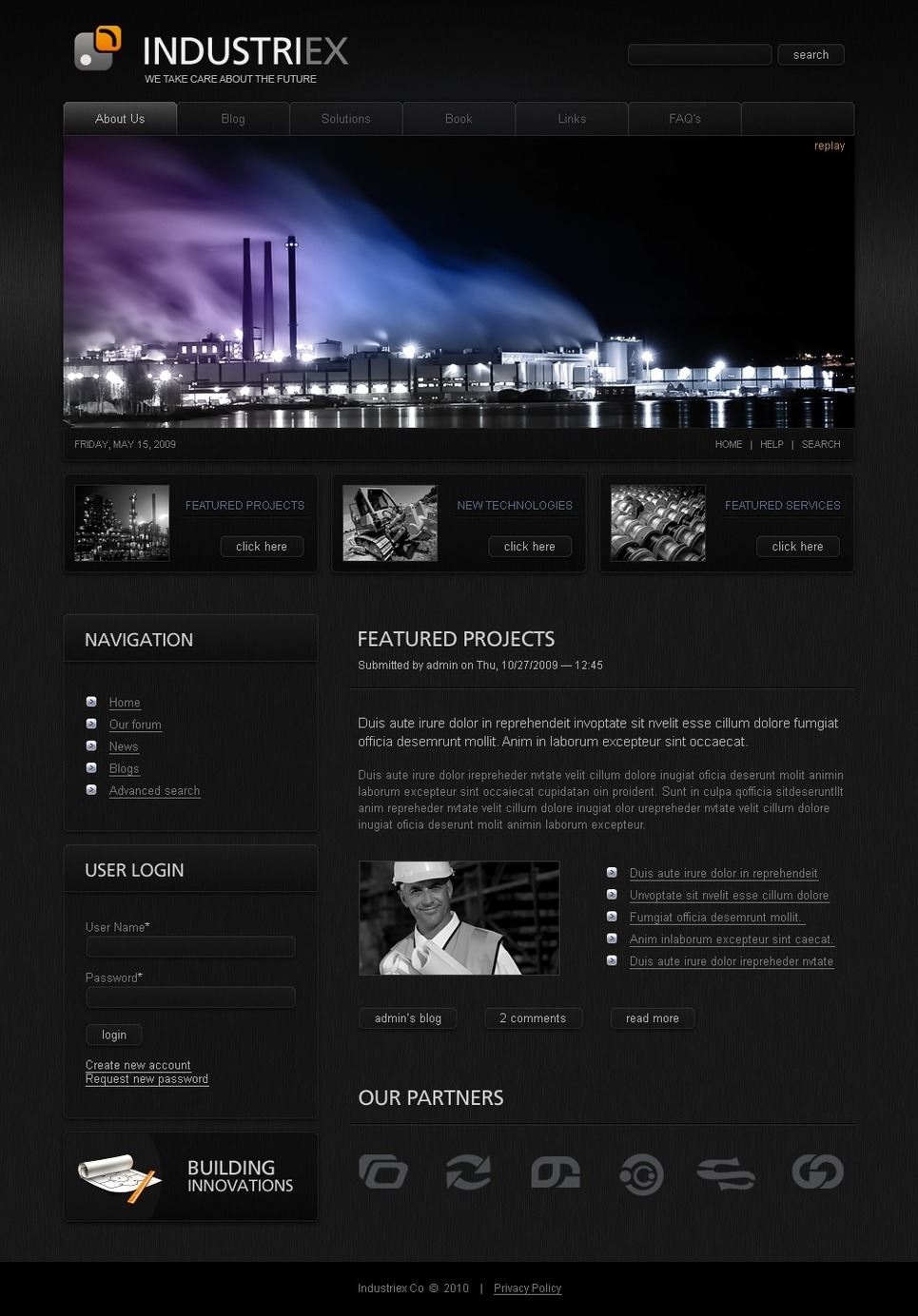 Industrial Drupal Template New Screenshots BIG