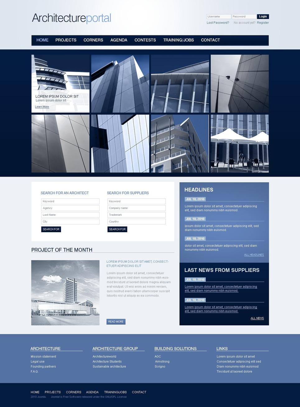 Architecture Joomla Template New Screenshots BIG