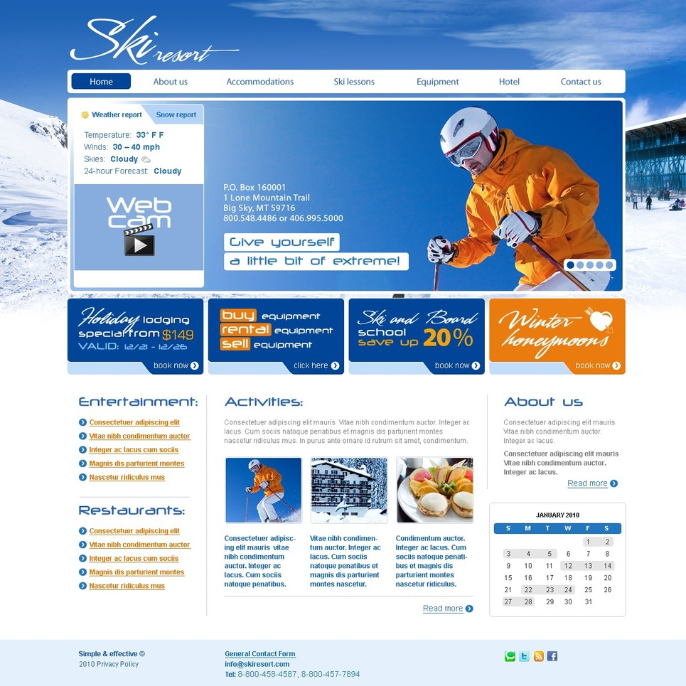 Modello siti web per un sito di sci for Siti web di costruzione domestica