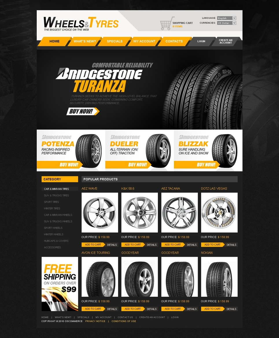 Wheels & Tires OsCommerce Template New Screenshots BIG