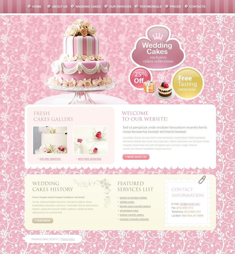 Wedding Cake Website Template #27847