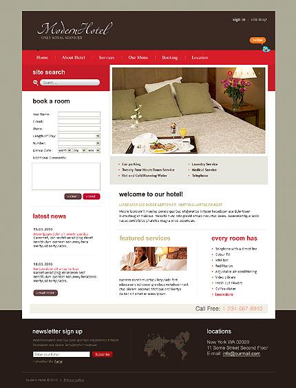 Заказ создания сайта или интернет магазина на тему Отели, на основании шаблона №28108.