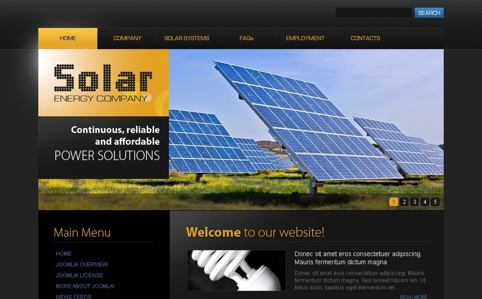Solar Energy Joomla Template New Screenshots BIG