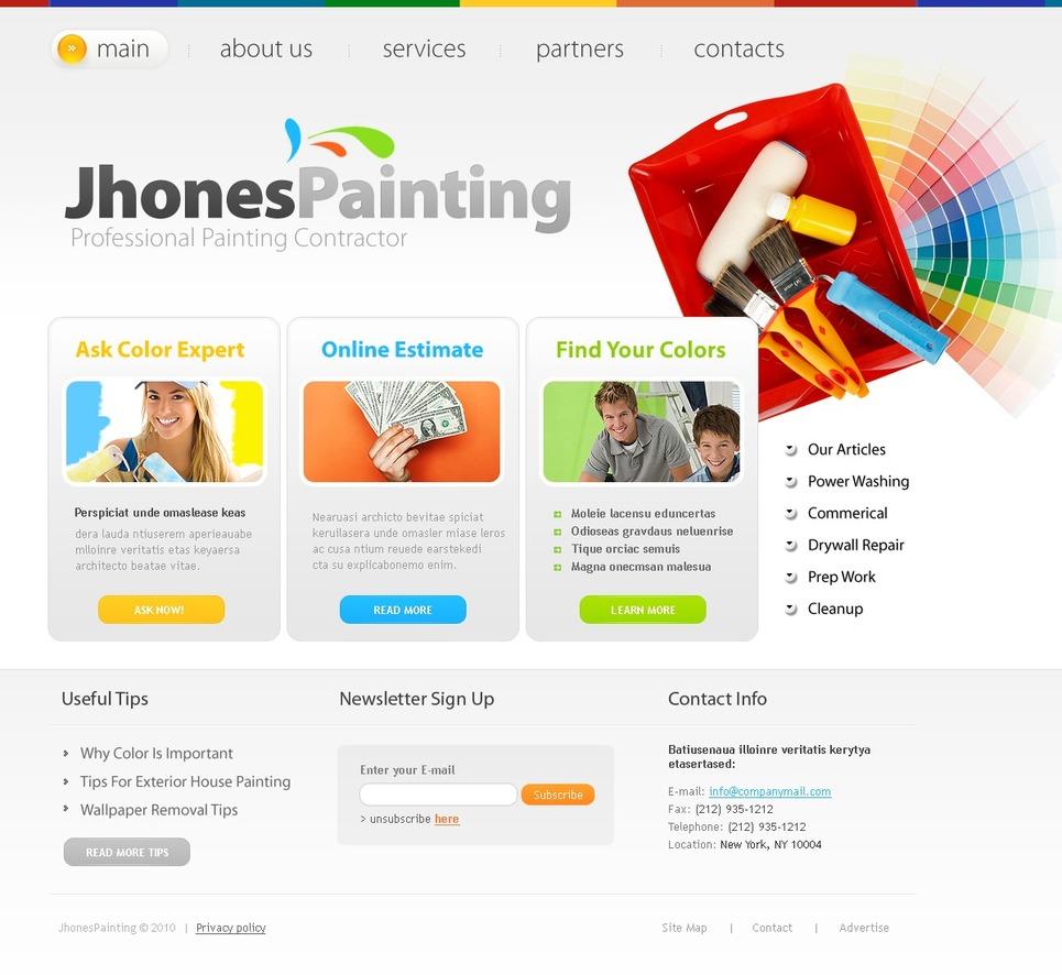Painting Company Website Template - Web Design Templates, Website ...