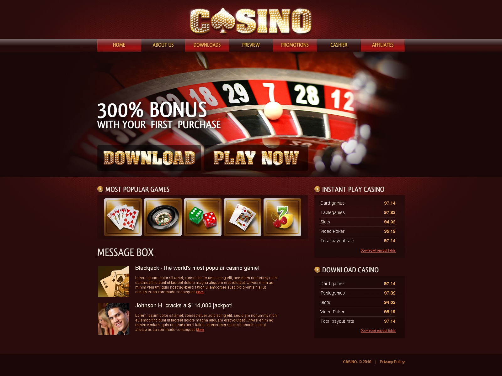 Casino site template web online casinos in us