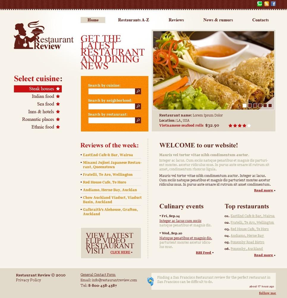 restaurant reviews website template 28342. Black Bedroom Furniture Sets. Home Design Ideas