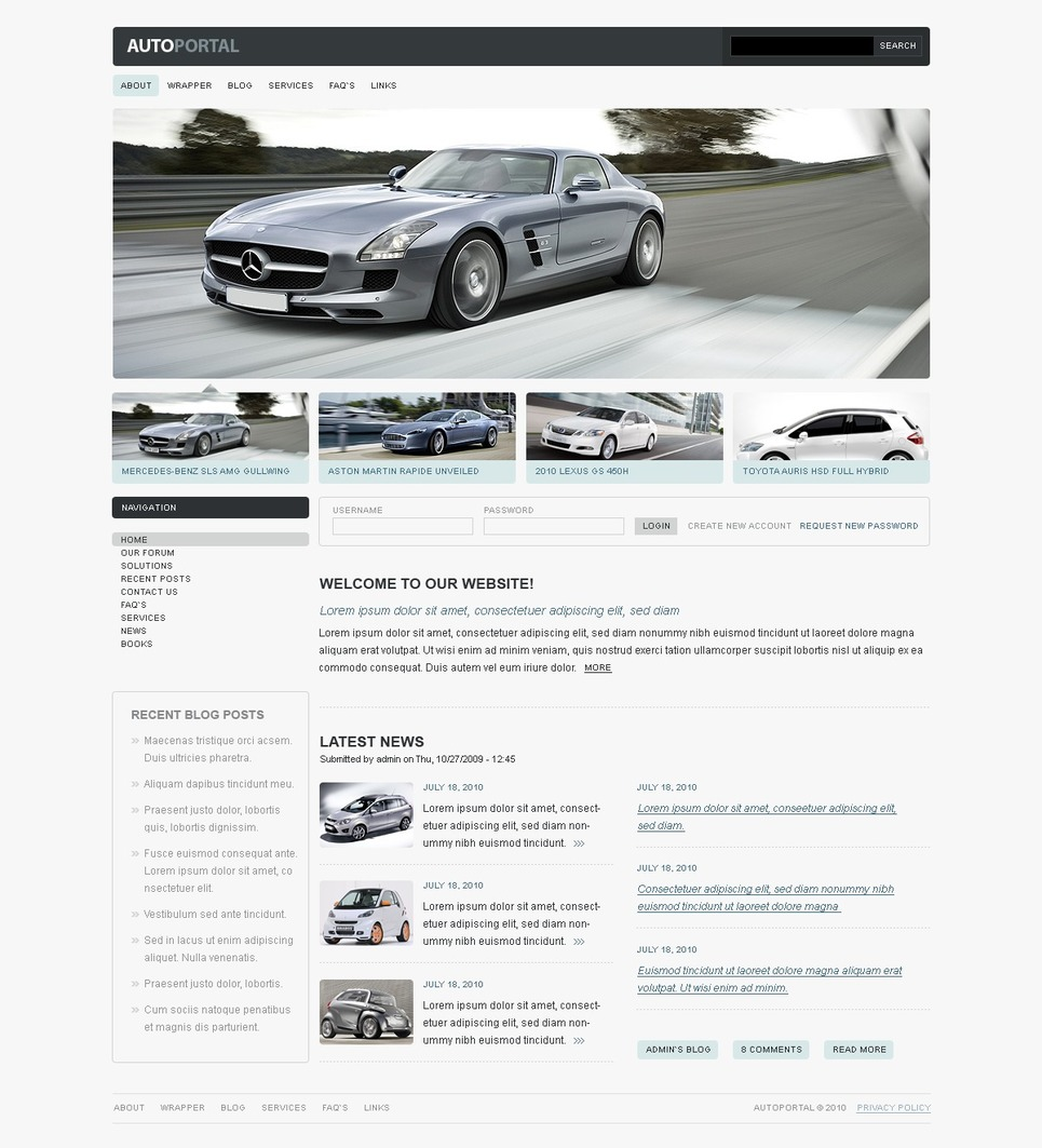 Car Club Drupal Template New Screenshots BIG