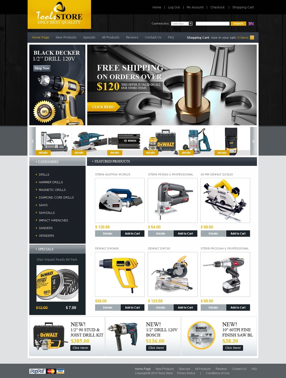 Tools & Equipment ZenCart Template New Screenshots BIG