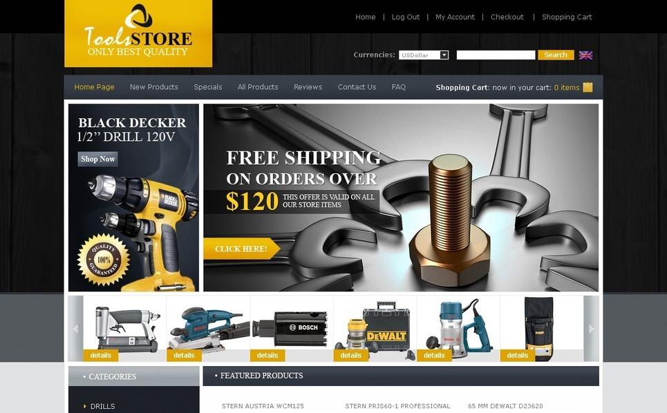 Tools & Equipment ZenCart Template New Screenshots BIG
