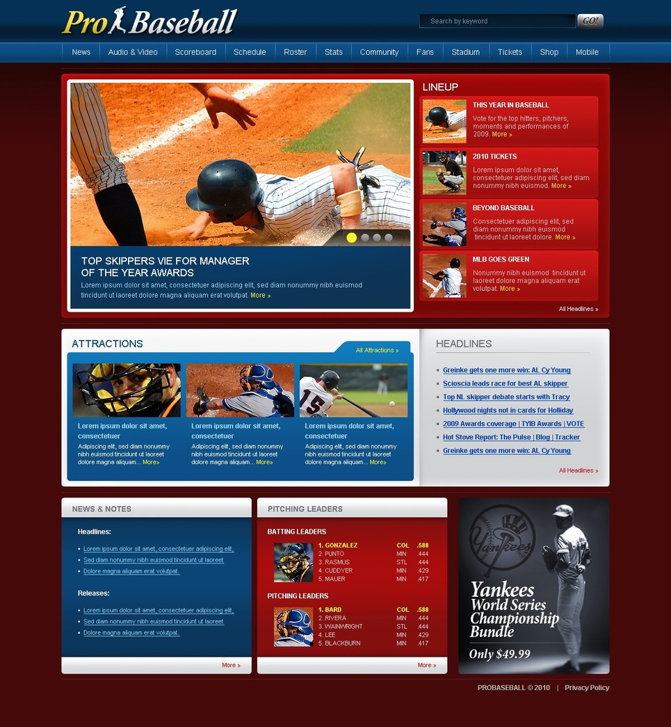 Baseball Website Template New Screenshots BIG
