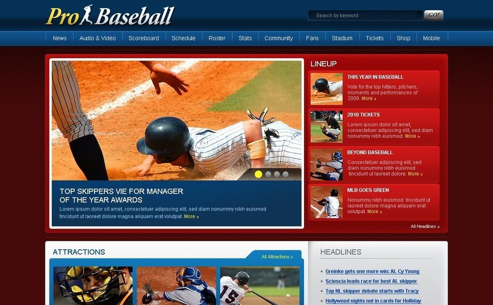 Baseball Website Template New Screenshots BIG