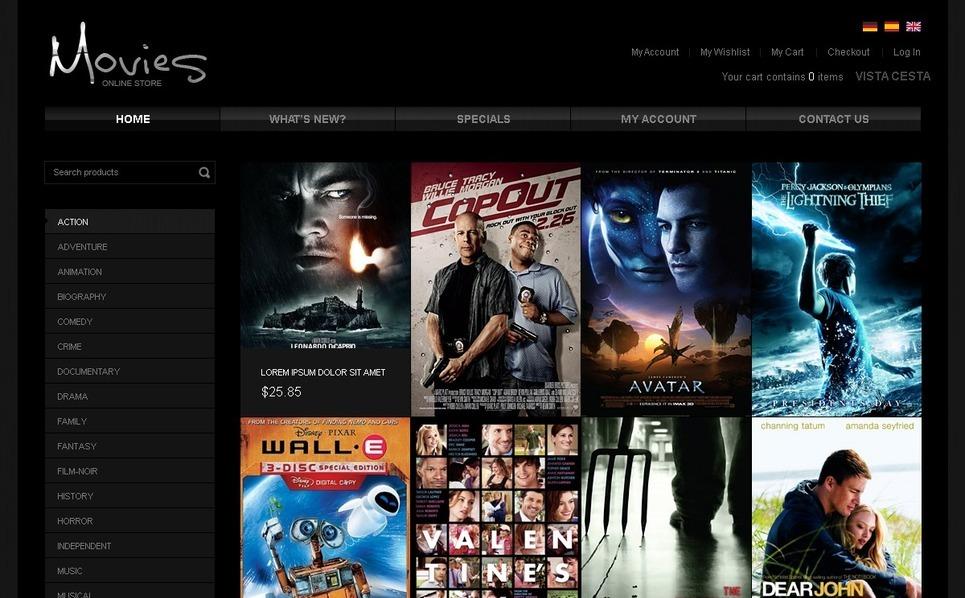 Movie OsCommerce Template New Screenshots BIG