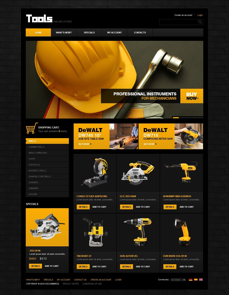Tools & Equipment OsCommerce Template New Screenshots BIG