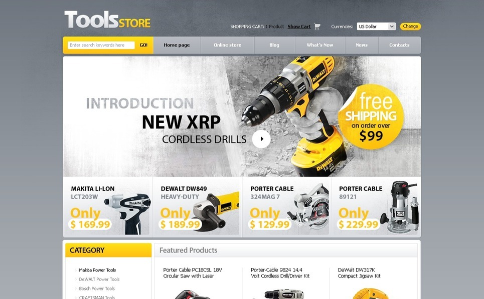 Tools & Equipment VirtueMart Template New Screenshots BIG