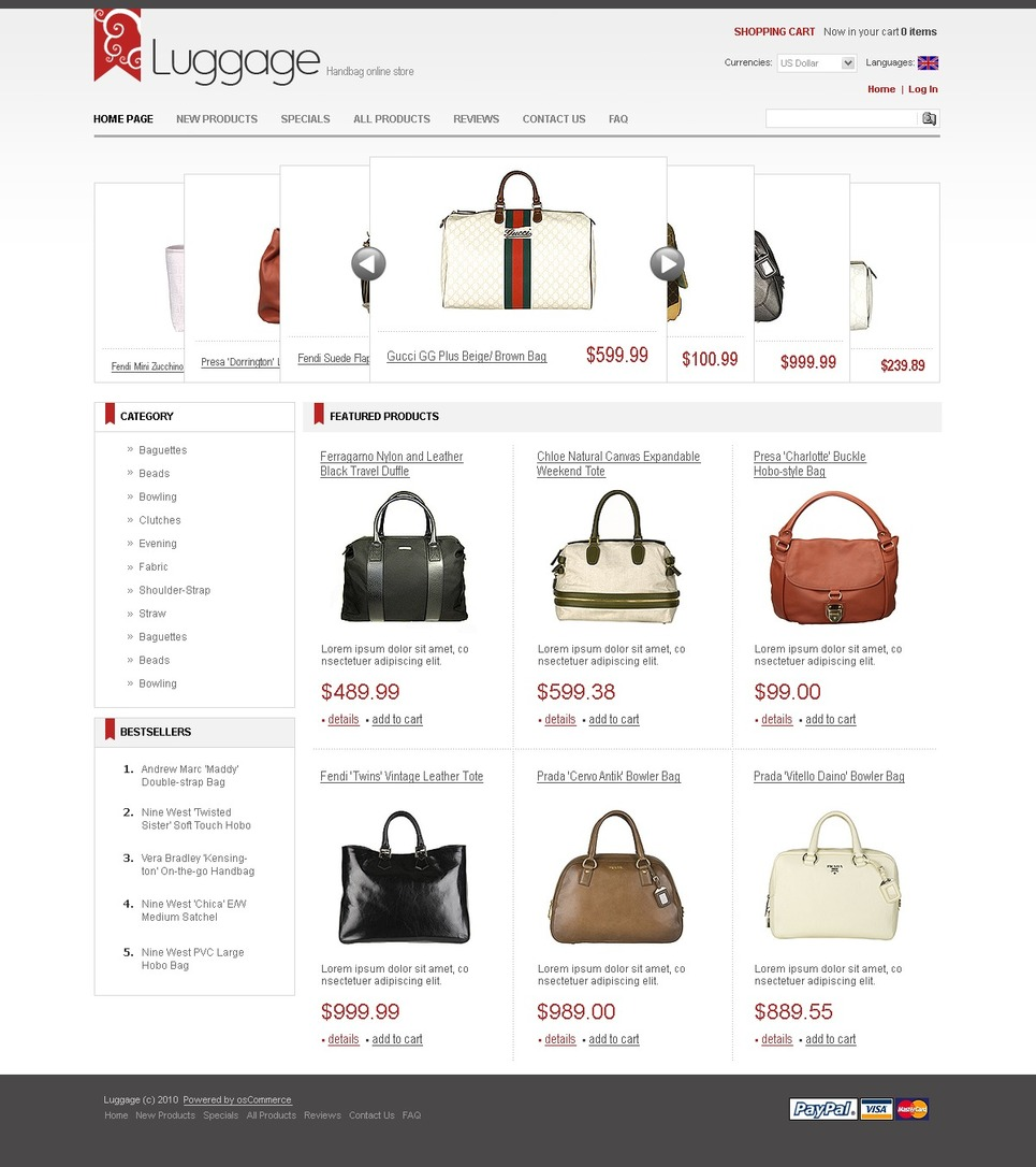 Handbag ZenCart Template New Screenshots BIG