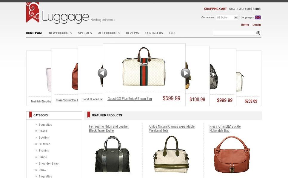 Handbag ZenCart Template New Screenshots BIG